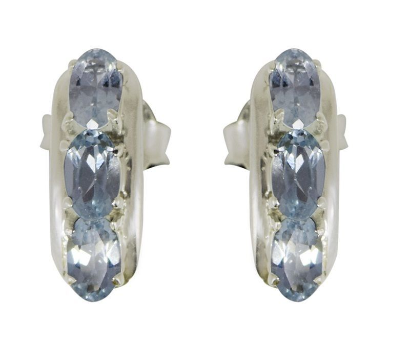 New Designer Genuine Blue Topaz Gemstone 925 Sterling Silver Earring SHER0233