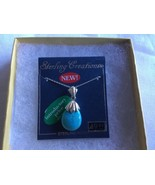 Sterling Silver Turquoise Tear Drop Pendant Necklace - $26.13