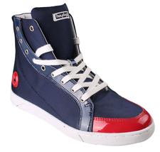 Heyday Droite Lite Coeur Bleu Nylon Rouge Cuir Verni Hi Chaussures 10US 43 Nib