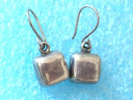 VINTAGE MODERNIST STERLING SILVER DANGLE EARRINGS 925 PTI - $22.76