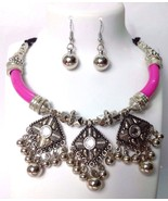 Silver Oxidized Necklace Earrings Choker Bib Fringe Jewelry Tribal Boho ... - $8.90