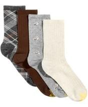 GOLD TOE CASUALS Womens 4 Pack Rabbit Dots & Madras Plaid Crew Socks $18... - $11.36