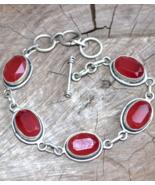 Ruby Bracelet, gemstone bracelet,red stone bracelet, statement bracelet,... - $33.99