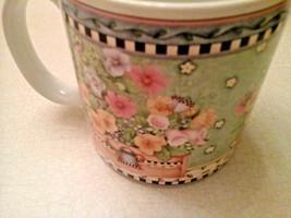 Debbie Mumm Sakura Stone Ware Coffee Mugs Spring Bouquet 1999 - $14.84