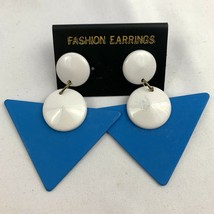 Vintage Big Funky Triangle Dangle Earrings Blue White Drop Statement NOS... - $16.79