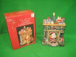 Vintage Holiday Traditions Christmas Hand Painted Ceramic Candle Holder - $11.26