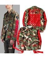 Fashion Brand Men Kanye Off White Jackets Camouflage Red Stripe 13 Badge... - $69.36