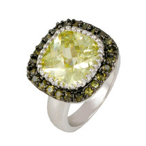 PAVE+ 12MM CUSHION CUT PERIDOT CUBIC ZIRCONIA RING-BRIDAL-AAA STONES - $39.99