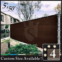 Royal Shade 5' x 50' Brown Fence Privacy Screen Cover Windscreen, with H... - $84.44