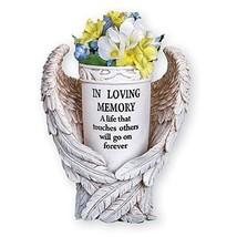 Angel Wings Memorial Vase Garden Decor Yard Stake, Beige - $39.24