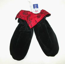 Neckworks Mittens Black Velour Womens Red Embroidered Satin Christmas - $14.84