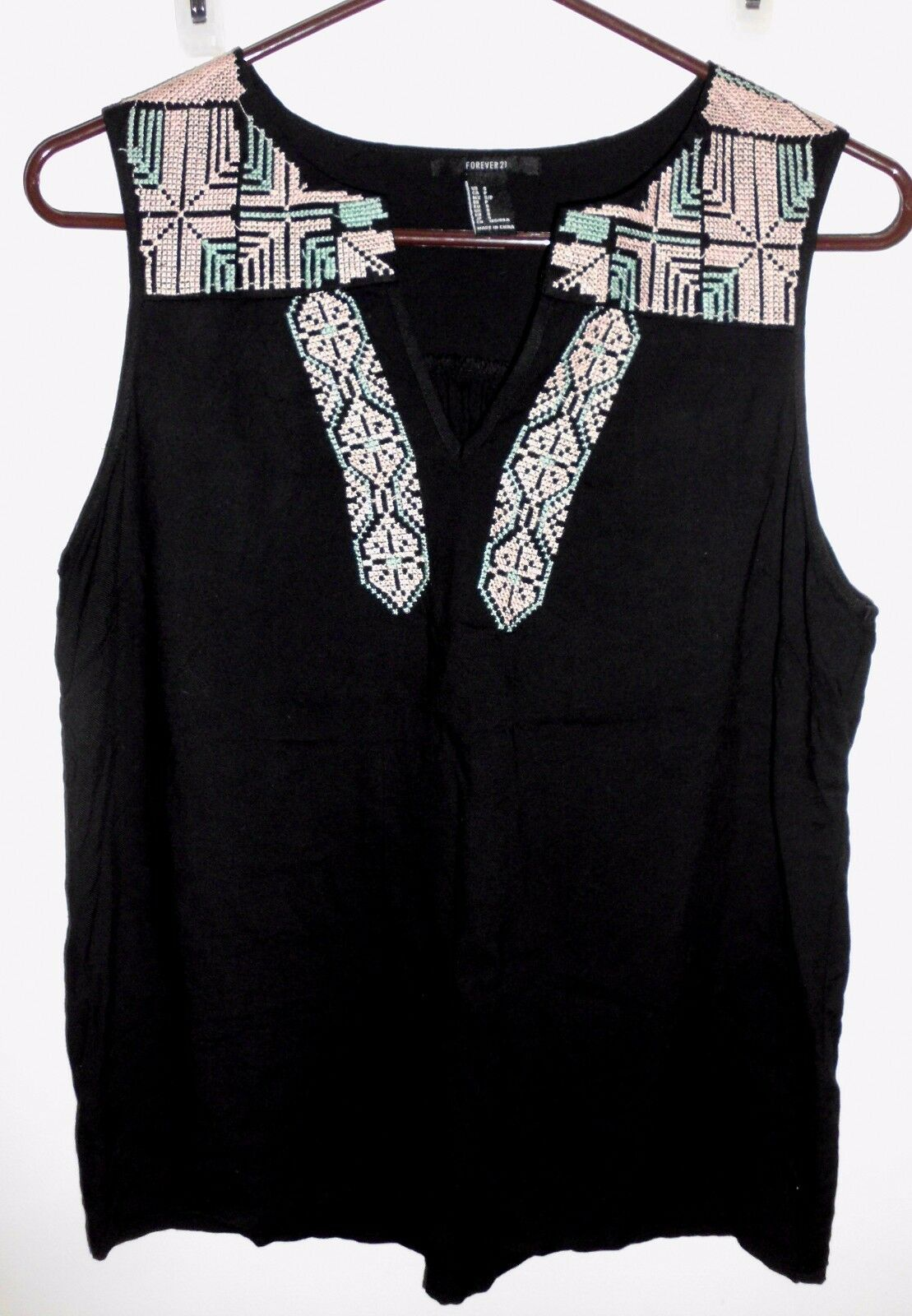 Primary image for FOREVER 21 Top SMALL Black Cross Stitch Embellished Southwest Style Sleeveless
