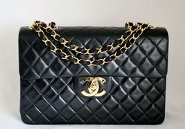 CHANEL XL Jumbo Vintage Maxi Black LAMBSKIN Flap Bag 24K GHW AUTHENTICATED! - $3,480.36