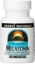 Source Naturals Melatonin, 5 Milligrams, Orange Flavored, 100 Lozenges - $14.87