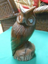 "Outstanding Wood Handcarved OWL Statue..8"" - $22.36"
