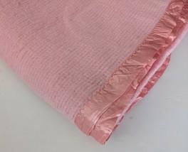 Vintage Waffle Weave Acrylic Blanket Satin Trim Pink Thermal Throw 69x78 - $141.25