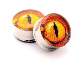 """Pair of Eyeball Picture Plugs Gauges Choose Size (5/8"""" - 16mm) - $19.80"""