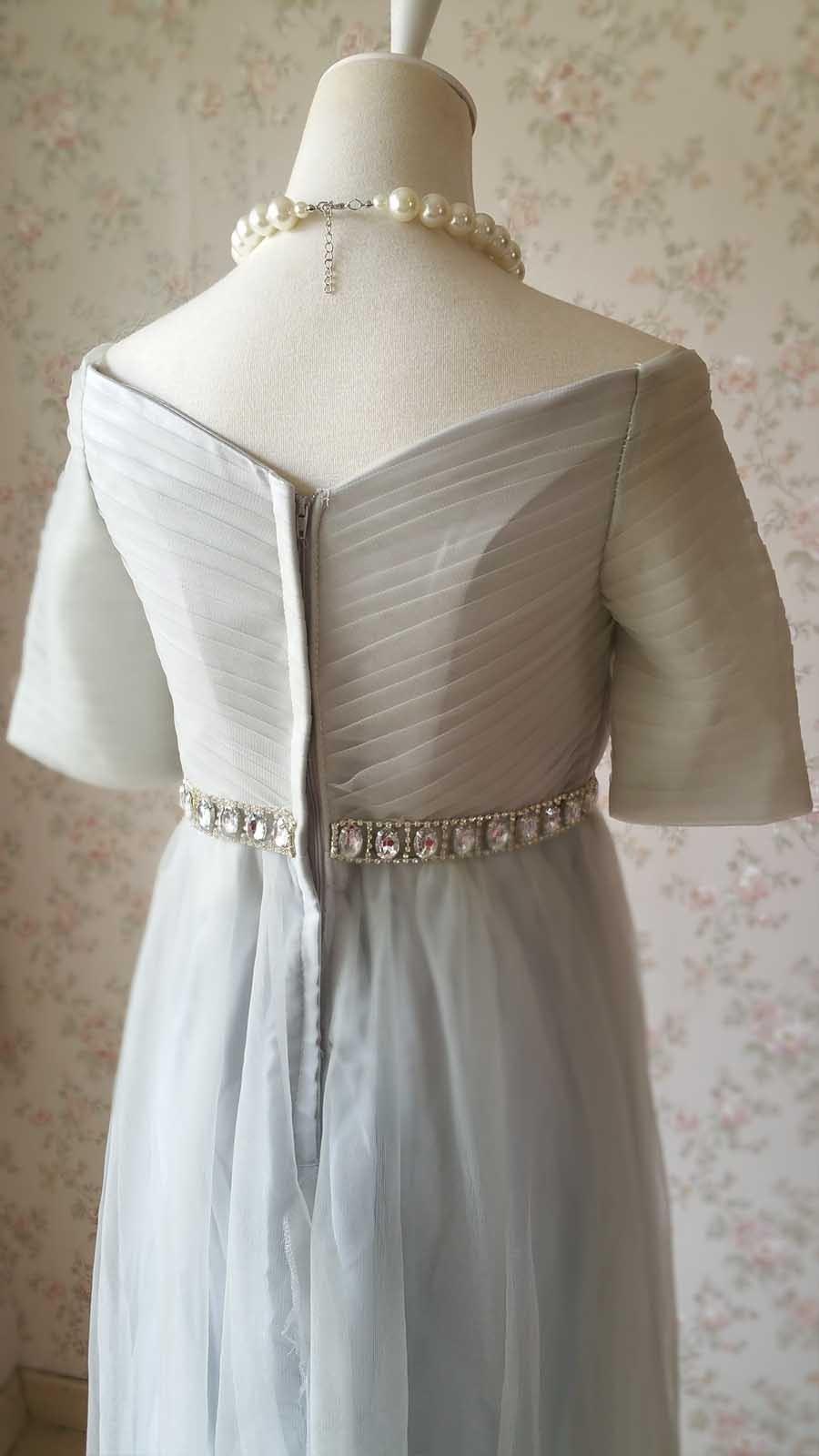 Light Gray Cap Sleeve Sweetheart Off Shoulder Floor Cocktail Dress Wedding Dress