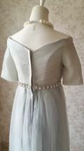 Light Gray Cap Sleeve Sweetheart Off Shoulder Floor Cocktail Dress Wedding Dress image 6
