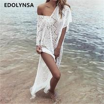 New Arrivals Sexy Beach Cover up Lace White Swimwear Beach Kaftan Bikini Dress C - $25.95