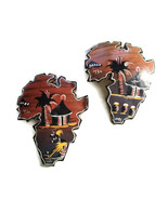 VTG African Art Maps Hand Painted Africa Wall Hanging Signed 70s Gourd C... - $24.74