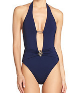 Trina Turk One Piece SwimsuitPlunge Halter High Cut Legs w/ Belt Buckle ... - £101.91 GBP