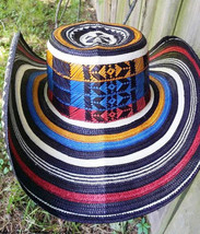 COLOMBIAN HAT~~FINO SOMBRERO VUELTIAO~~ 21 VUELTAS LAPS  FLAG COLORS ALL... - $99.00