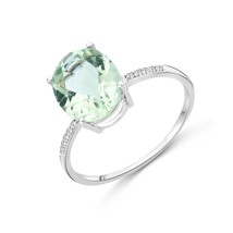 Miore Ladies 9kt White Gold Diamond and Green Amethyst Ring - Size L M90... - $219.37