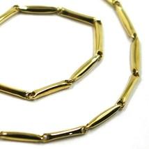 """18K YELLOW GOLD BRACELET ALTERNATE BONE 8x1.5 mm TUBE LINKS, length 20.5 cm 8.1"""" image 2"""