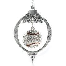 Inspired Silver 4.0 Carat Pave Baseball Holiday Christmas Tree Ornament - $14.69