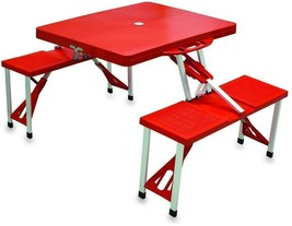Outdoor Picnic Table Portable Collapsible Design Aluminum Frame Finished Red - $83.46