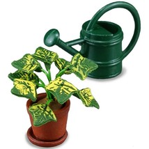 DOLLHOUSE Potted House Plant and Watering Can Set 1.741/5 Miniature - $17.06
