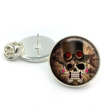 Steampunk Vintage Sugar Skull Glass Dome Round Cabochon Lapel Tie Pin Ba... - $5.99