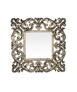 Decorative Hand Carved Indian Square Wall Mirror By TheKraftInc. Size : ... - $126.48