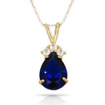 3.70 CT Sapphire Pear Shape 4 Stone Gemstone Pendant & Necklace 14K Y Gold - $133.50