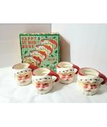 Vintage Set of 4 Japan Winking Santa Face Happy St Nick Mugs in Original... - $57.91