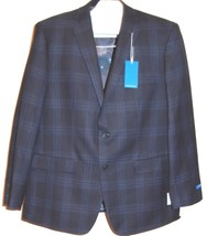 Vince Camuto  Men's Navy Blue Plaid Fashionable Blazer Jacket Size 44R $350 - $123.75