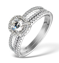 Women Fashion Round Cut White CZ 10k White Gold Fn Engagement & Wedding Ring Set - $68.94