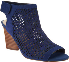 Vince Camuto Perforated Leather Peep- Toe Sandals - Dastana Moody Blue 10 W - $59.39