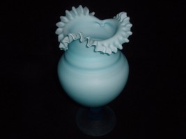 ANTIQUE BLUE SATIN GLASS  VASE  - $256.78