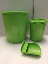 Tupperware Apple Green Canisters set of 2 with scoop 805 811 292 Used Re... - $28.80