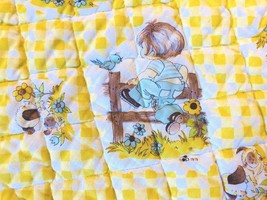 Fashion Weave QUILTED BABY BLANKET LOVEY VTG CRIB QUILT 1978 Yellow White - $23.19