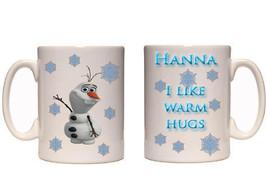 Personalised Frozen I Like Warm Hugs Olaf Name  10oz Mug   - $8.42