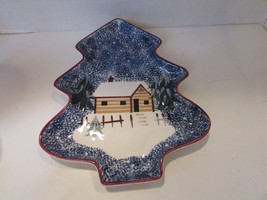 "COOK'S BAZAAR CHRISTMAS HOLIDAY DISH TREE SHAPED CABIN IN WOODS SCENE12.5""L - €6,10 EUR"