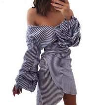 Lantern Ruffles Stripe Wrap Front Women Mini Dress - $33.00