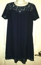 Forever 21 XXI Short Sleeve Scoop Neck Navy Lace Hem/Neckline Dress MEDIUM - $19.40