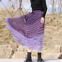 Purple Layered Tulle Midi Skirt A-line High Waisted Tulle Ruffle Skirt image 5