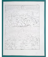 ROMAN Combat in Amphitheater Arena Gladiator Fight - 1828 Antique Print - $13.05