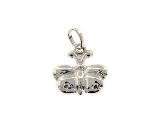 18K WHITE GOLD ROUNDED BUTTERFLY PENDANT CHARM 18 MM SMOOTH BRIGHT MADE IN ITALY