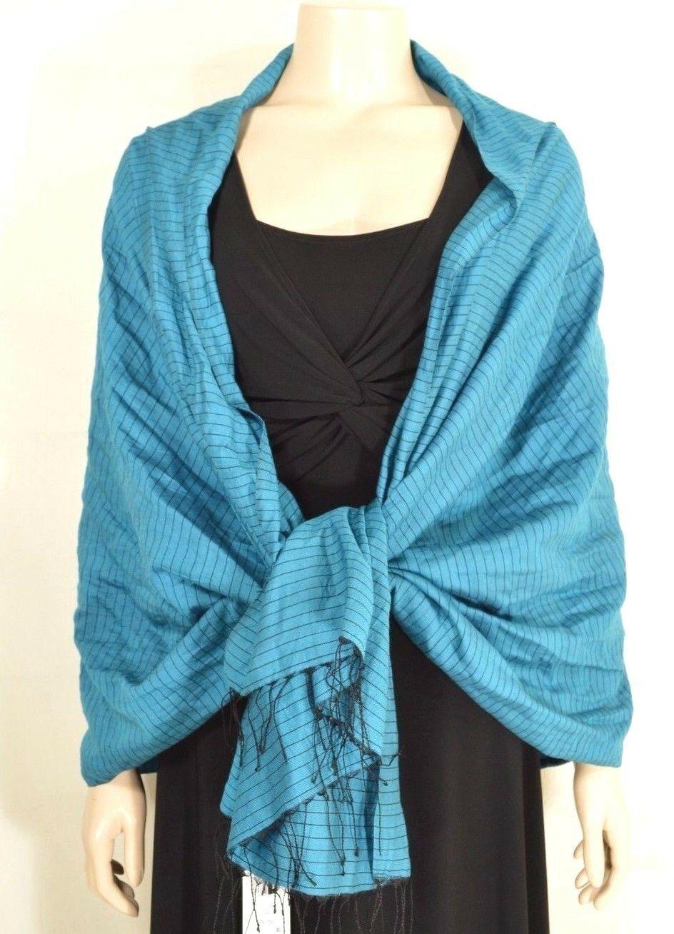 Eileen Fisher scarf NWT hand loomed organic cotton silk Jewel teal black stripe